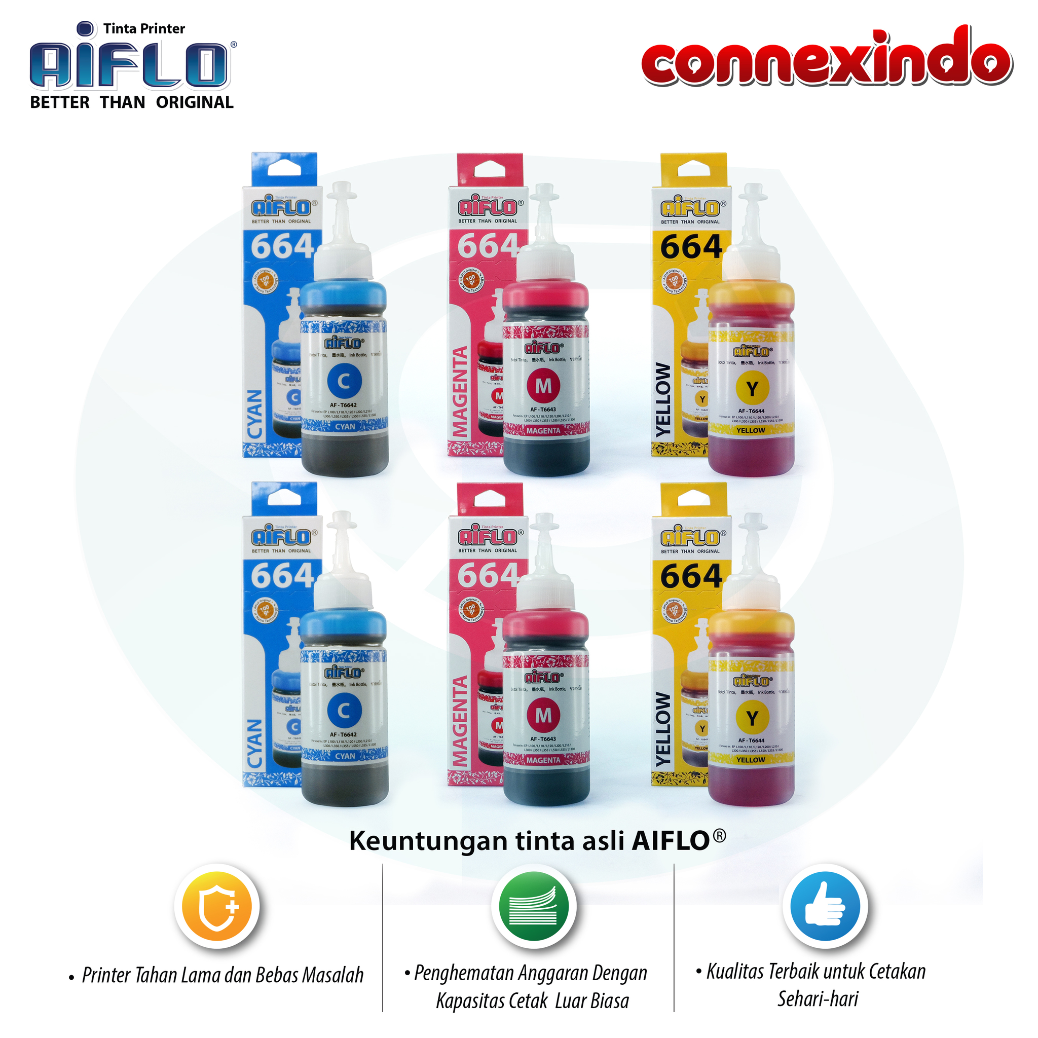 Aiflo 664 Paket Spesial Color Untuk Printer Epson L200 L350 - 6 Botol
