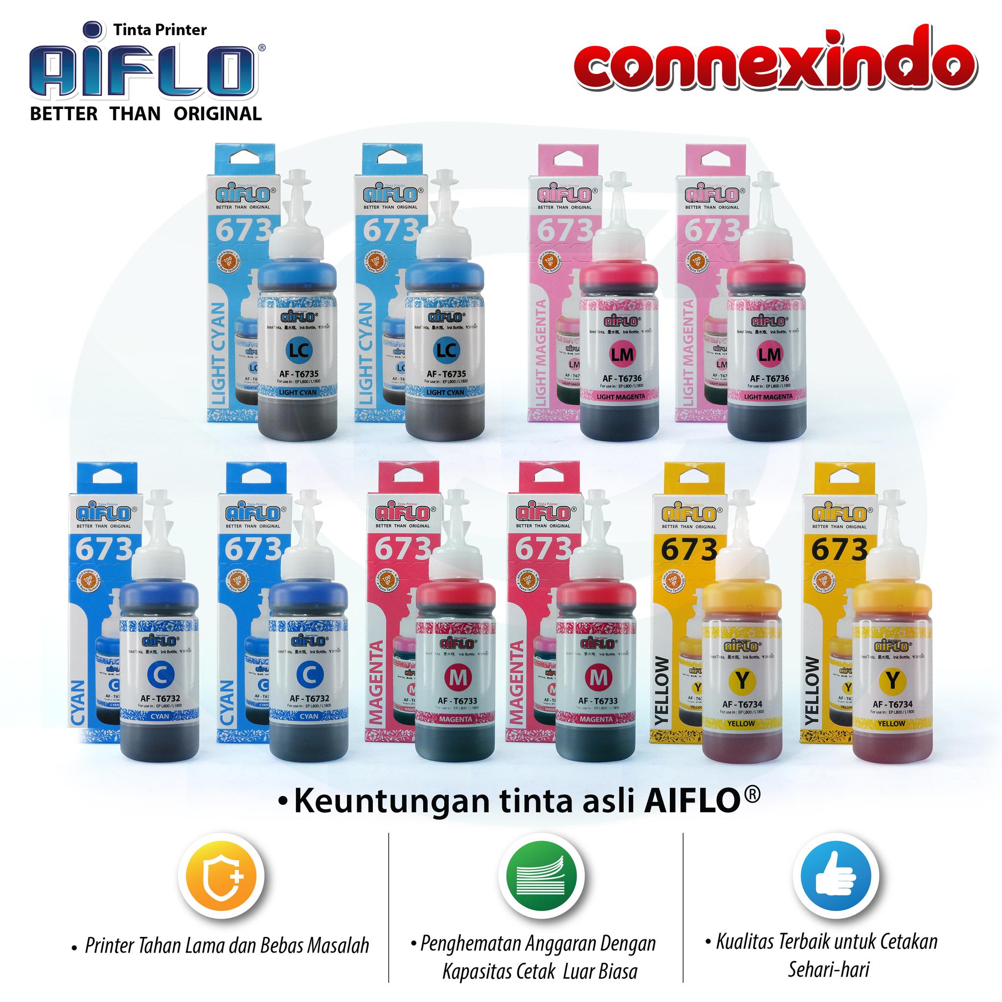 Aiflo 673 Paket Spesial Color Untuk Printer Epson L800 L805 - 10 Tinta