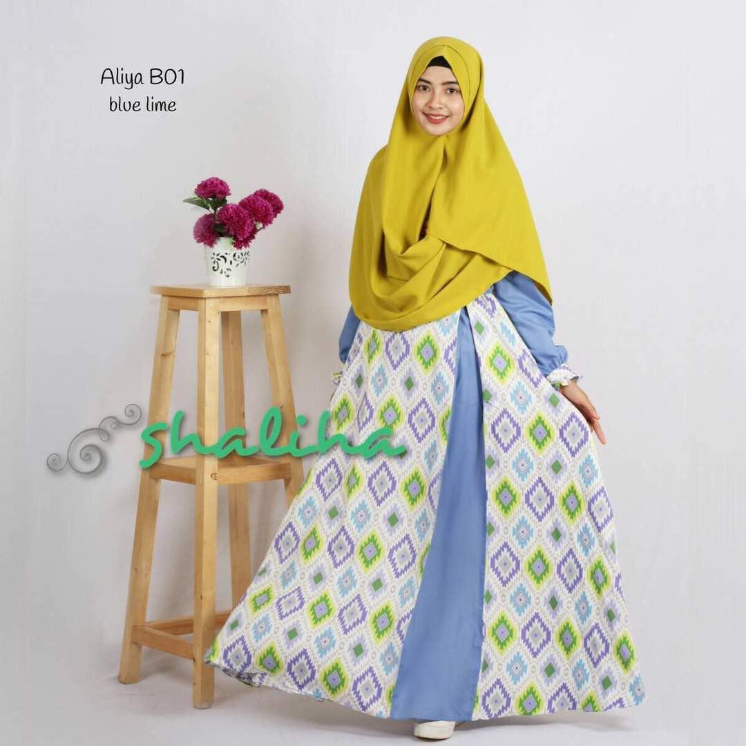 Jual Gamis Shaliha Aliya Dress B01 Blue Lime Baju Muslim Wanita bee578fde0