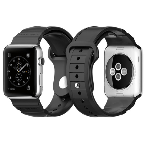 Spigen Apple Watch 42mm Band Rugged Band Strap Rubber Silicone - Black