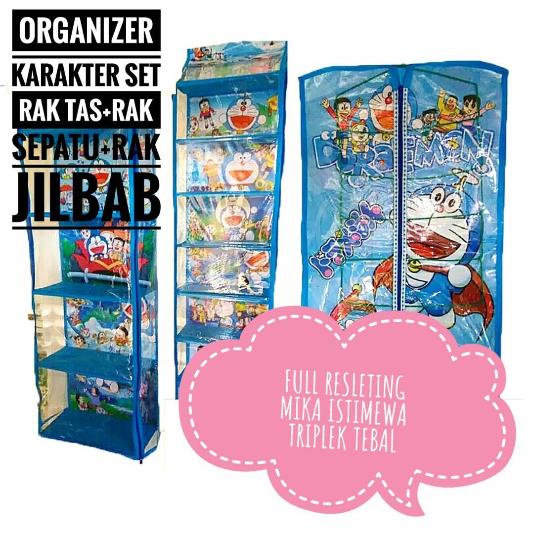 Jual Rak Gantung Set 3 In 1 Karakter Doraemon Biru Kadohadiahunik Tas Sepatu Hijab Tokopedia