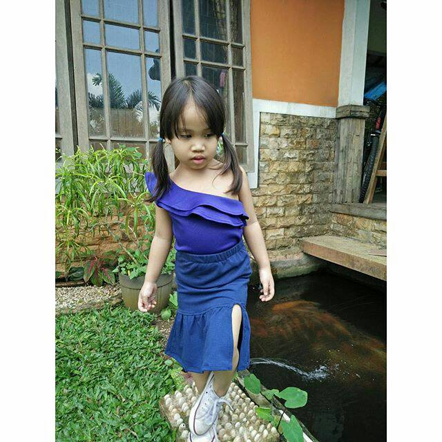 Baju Sabrina Anak Balita Perempuan Rok Mermaid Rok Belahan Anak Balita