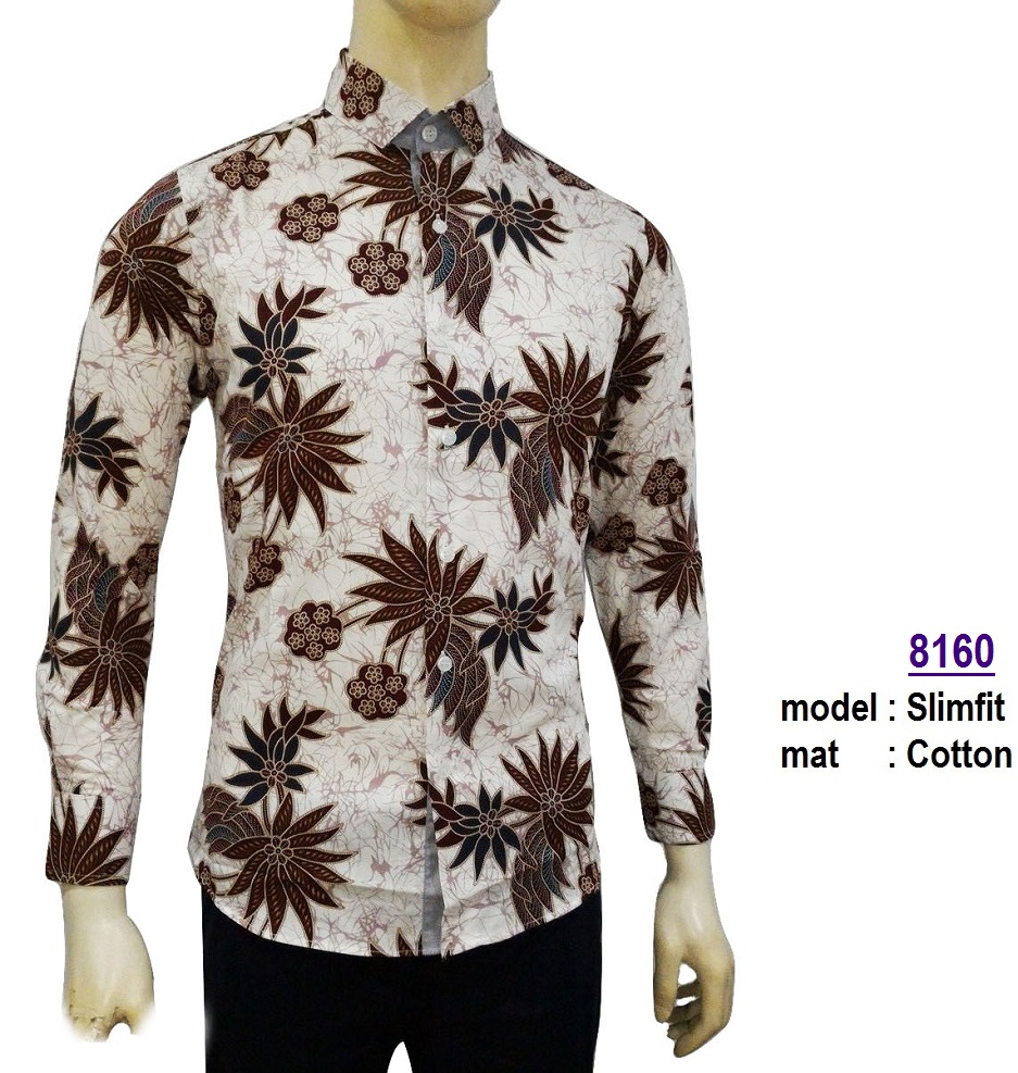 Jual Baju Kemeja Batik Slimfit 8160 Fashion Pria Kaos Jeans Salo Sepatu Kasual Denim Coklat