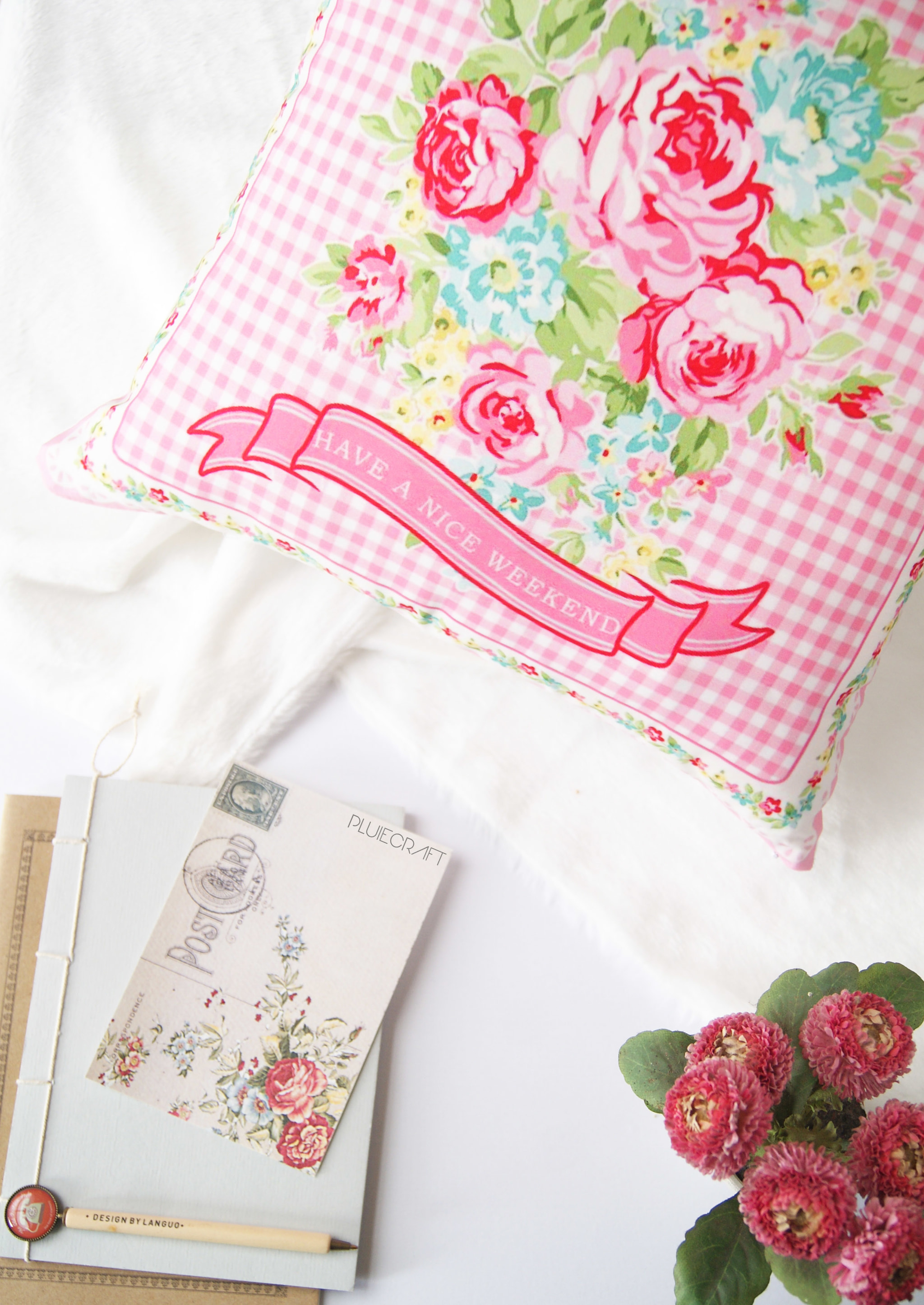 Bantal Bunga Printing Home Decor Shabby Chic Ruang Tamu