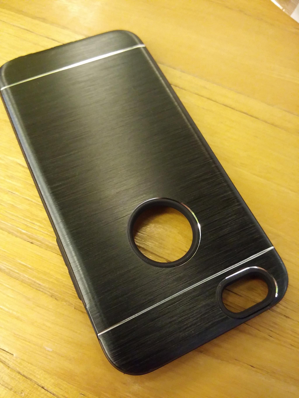 iPhone 5 5S SE Elegant Metal Shield Brush Texture Soft Armor Case