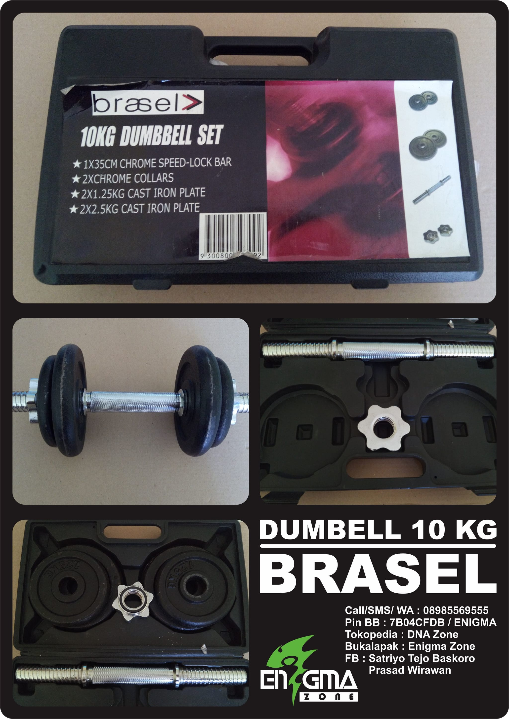 Jual Dumbell Set 10 Kg Merk Brasel Barbel Fitnes Gym Enigmazone Dna Zone Tokopedia