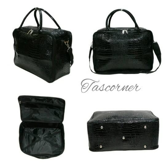 Amt Tas Travel Koper Fashion Croco Kulit Buaya Hitam Tali Slempang Panjang - 85fef704da