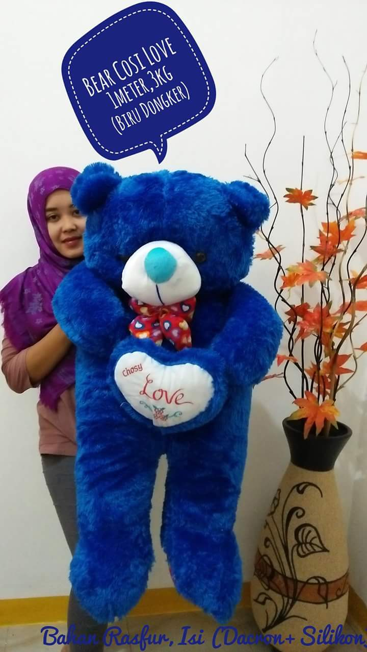 Jual Boneka Beruang Teddy Bear Cosy Love Jumbo Biru Dongker Loved