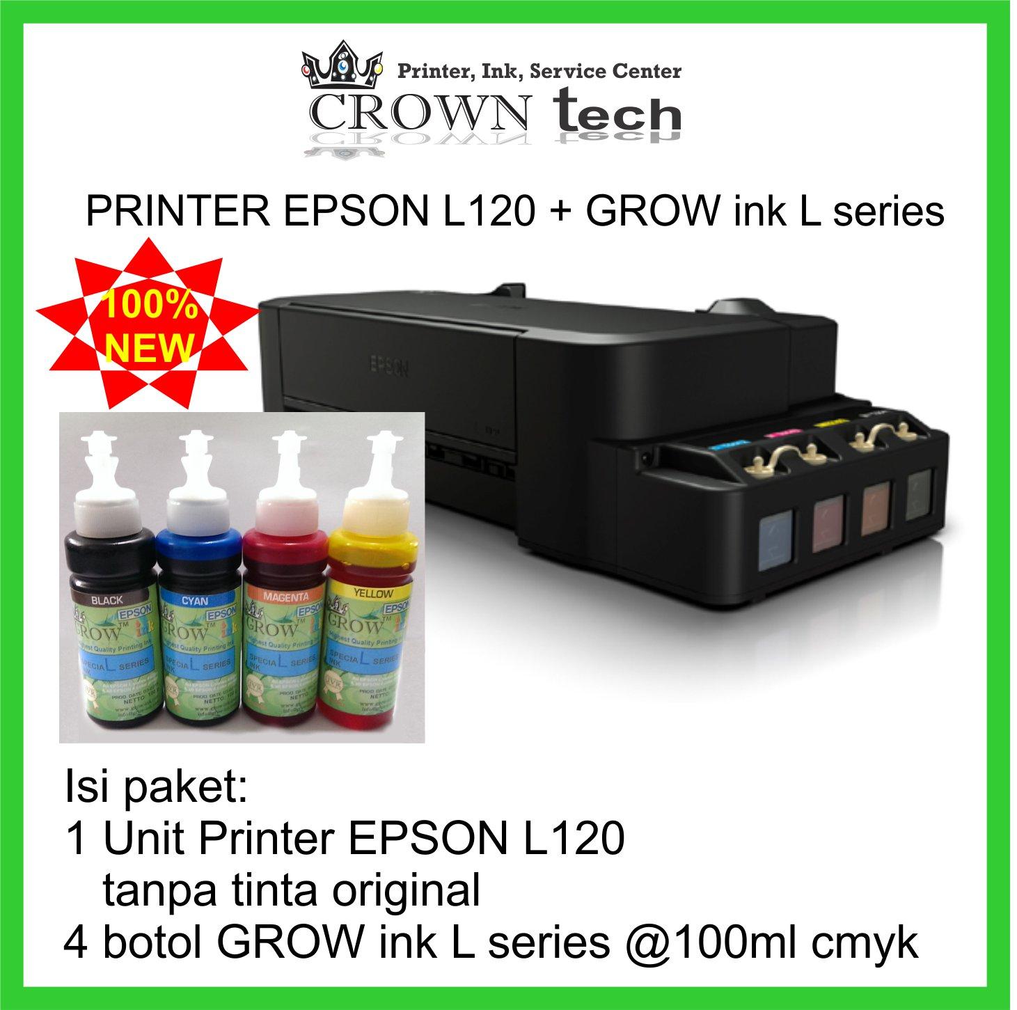 Jual Printer Epson L120 Grow Ink L Series Formula Anti Buntu Tinta Crown Tech Tokopedia