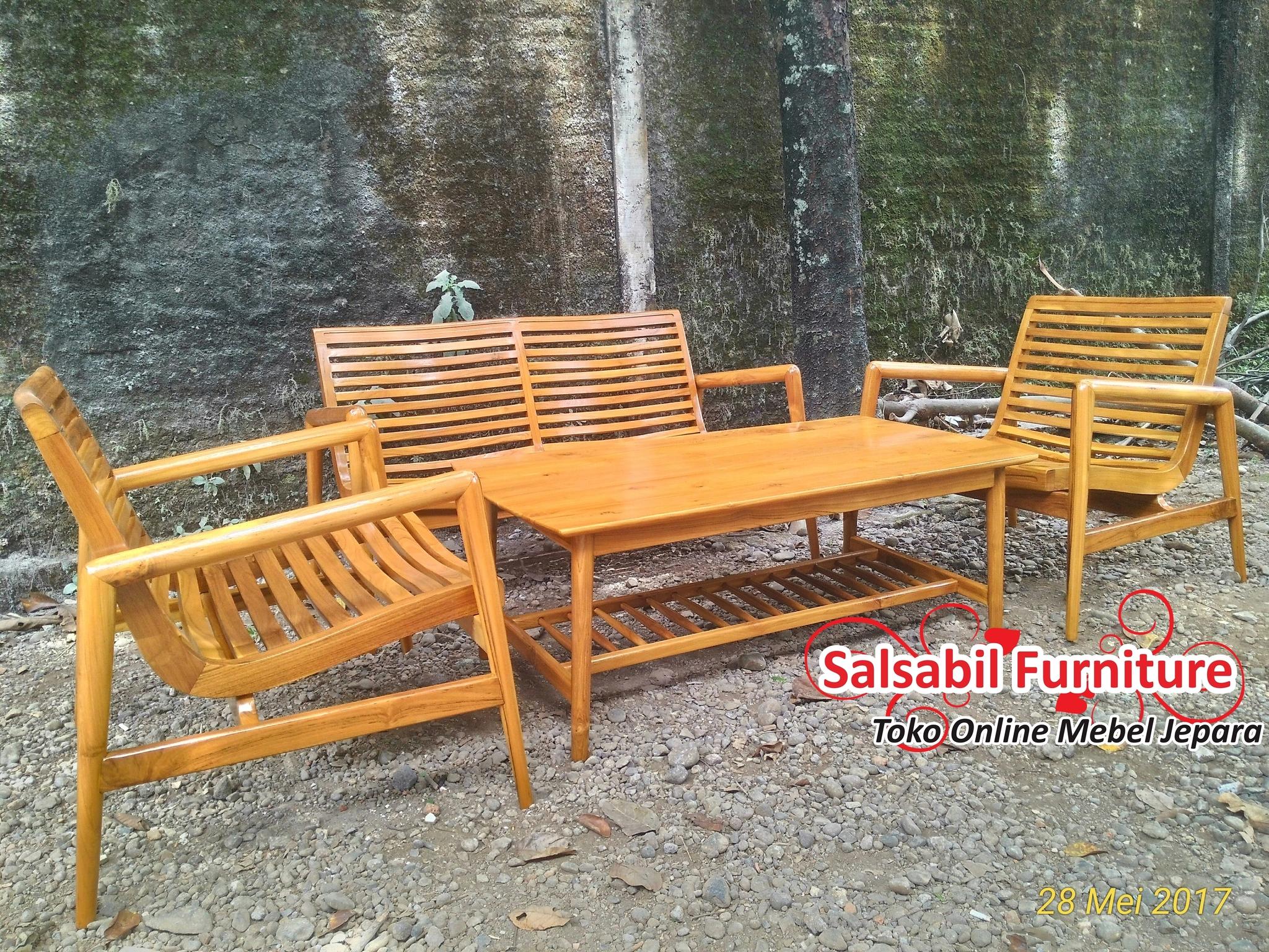 Set Kursi Tamu Retro Finger Arms 211+Meja - Salsabil Furniture - 085875166325