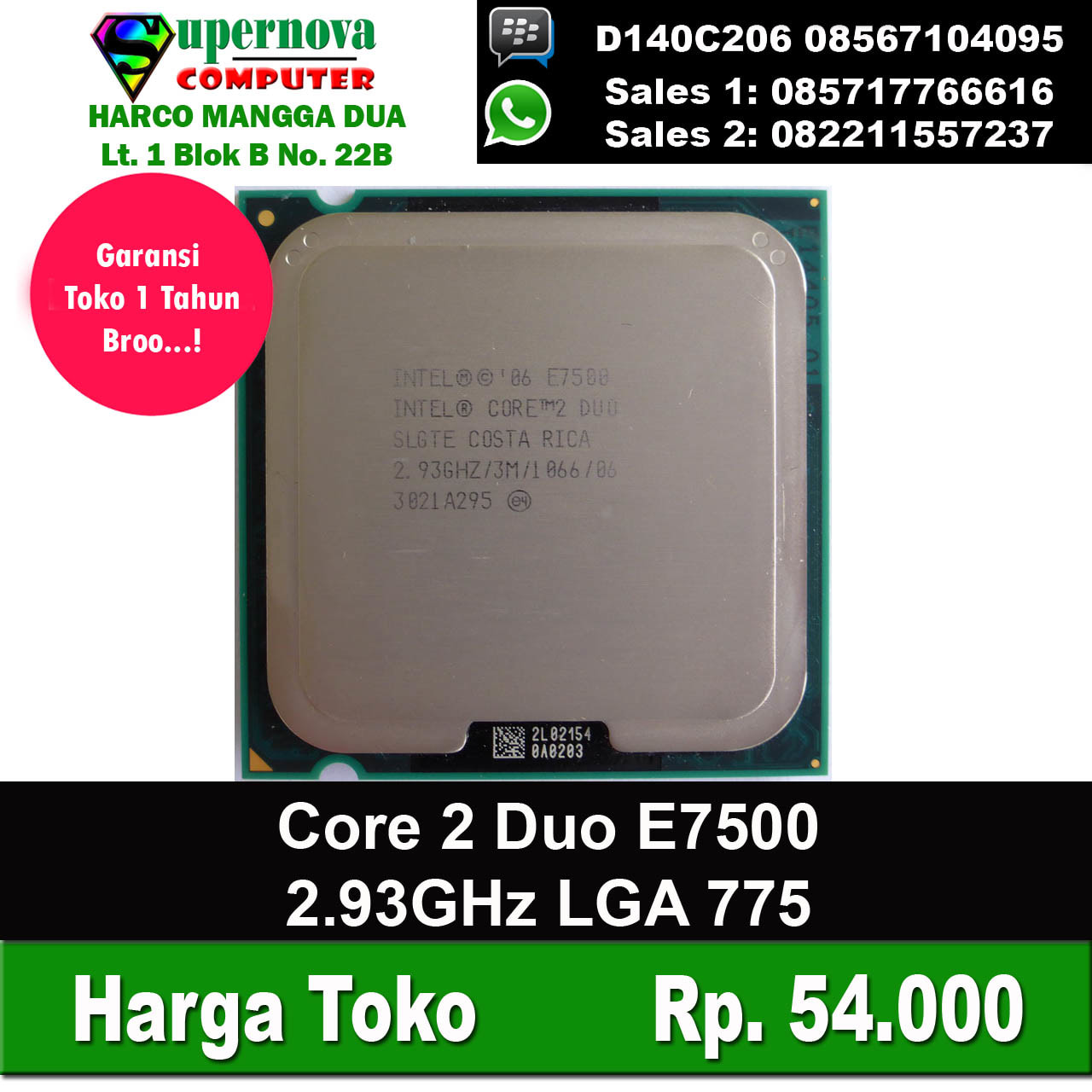 Jual Processor Intel Core 2 Duo E7500 293ghz Lga 775 Supernova Prosessor Computer Tokopedia