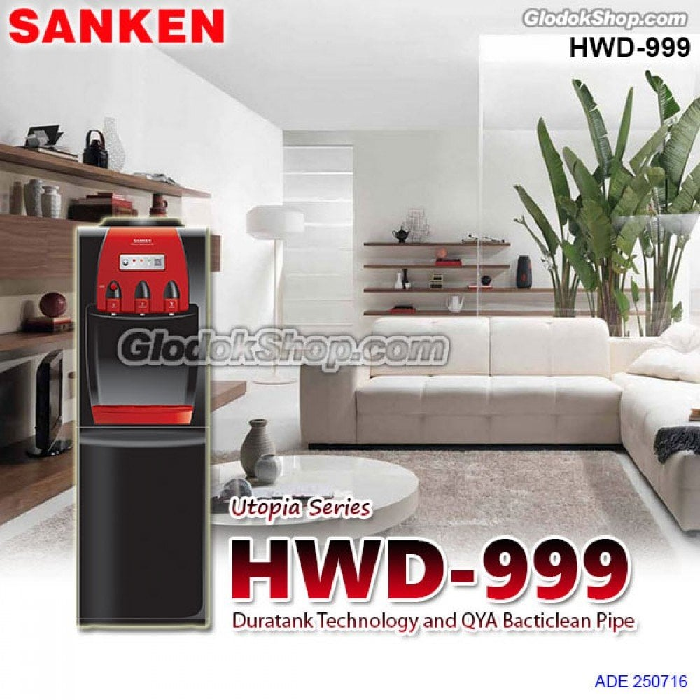 SANKEN Water Dispenser + Kulkas Mini Bawah HWD 999
