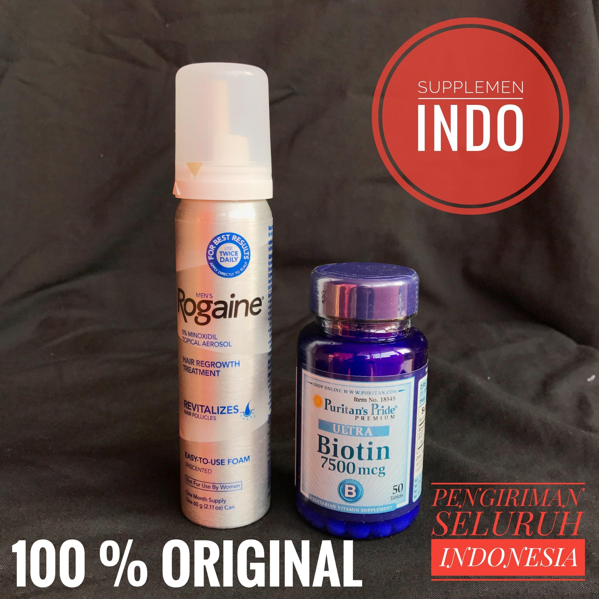 Jual Paket Rogaine Foam Mens Puritan Pride Biotin 7500 Mcg Isi 50 5 1 Botol Tabs Supplemen Indo Tokopedia