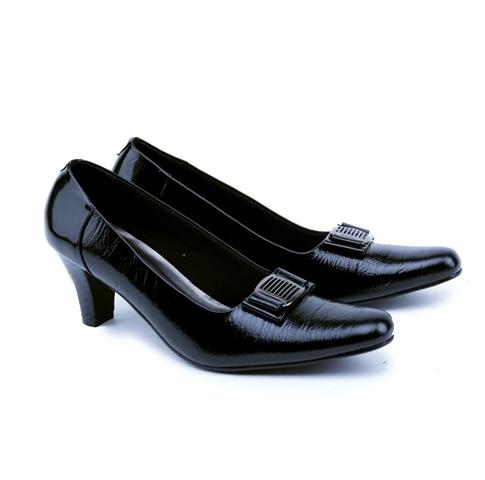 Sepatu Cewek Pantofel Heels Hitam Kulit - Sepatu Heels Kerja Kantoran 63917b4dde