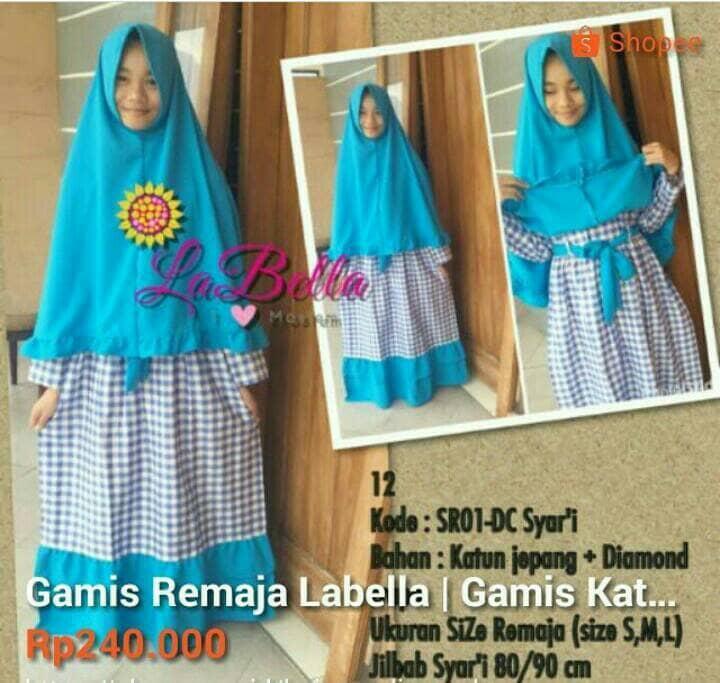 Gamis Labella | Gamis Dewasa | Size S & L | Baju Muslim | Busana Muslim