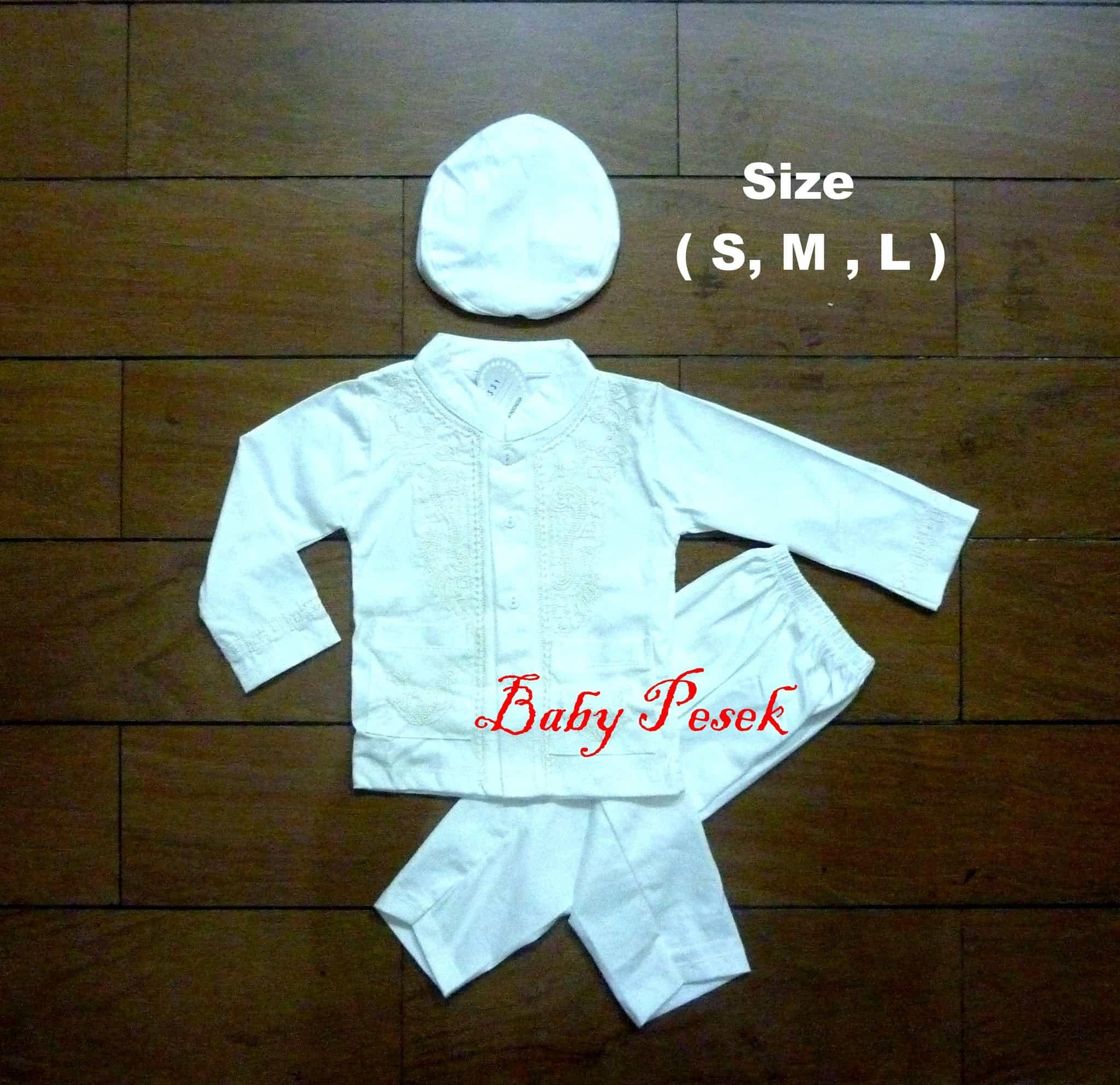 Baju Koko Muslim Setelan Anak Bayi Laki-Laki Putih