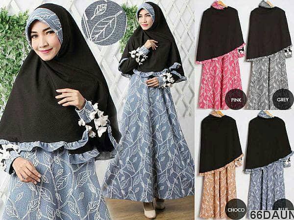 Gamis Dewasa   Gamis Motif   Baju Muslim   Bahan Wafel   Hijab Syar'i