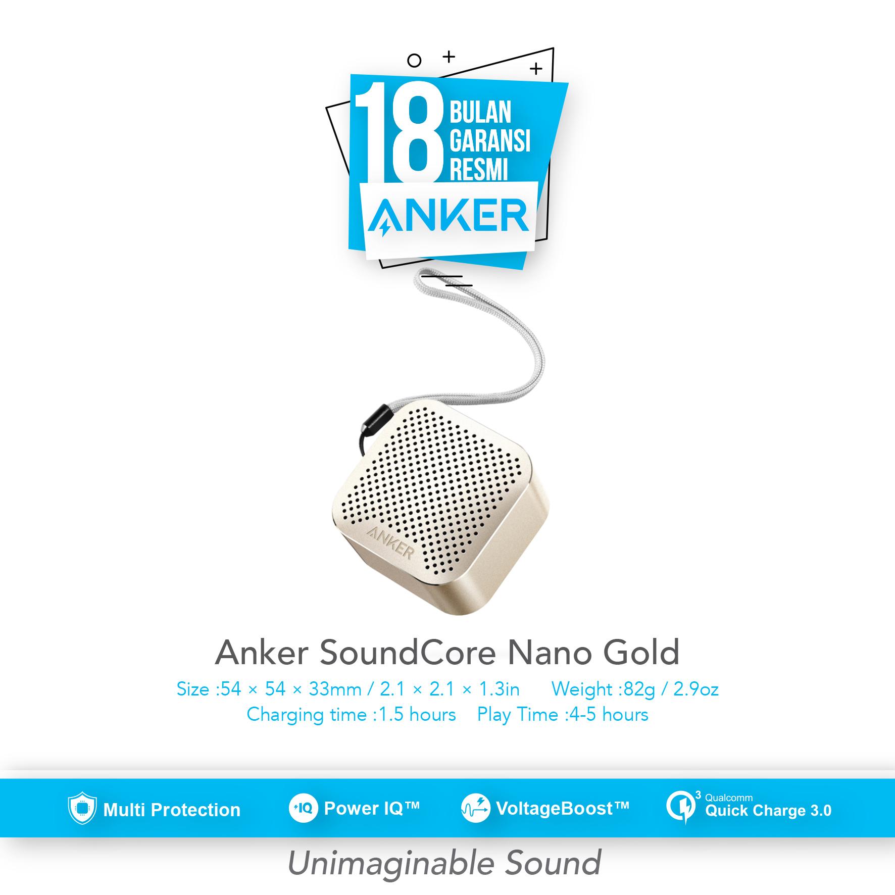 Jual Produk Anker Indonesia Official Online Termurah As Qr Satu Set Depan Belakang Soundcore Nano Wireless Speaker Gold A3104