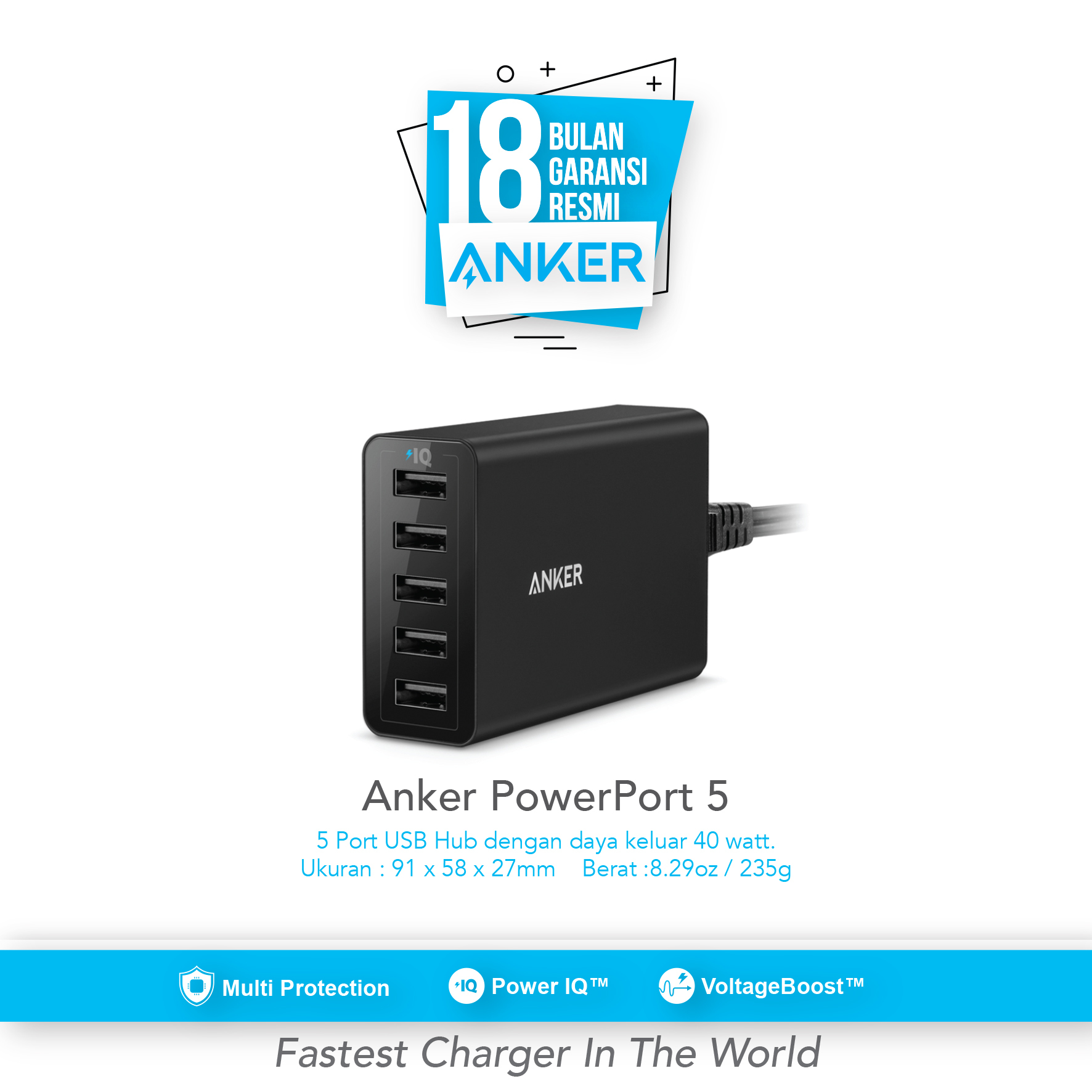 Anker Powercore 26800 And Powerport 1 Hitam Daftar Harga Terbaru Wall Charger Usb C Quick Charge 30 A2012311 5 40w Port For Us Black A2124j12