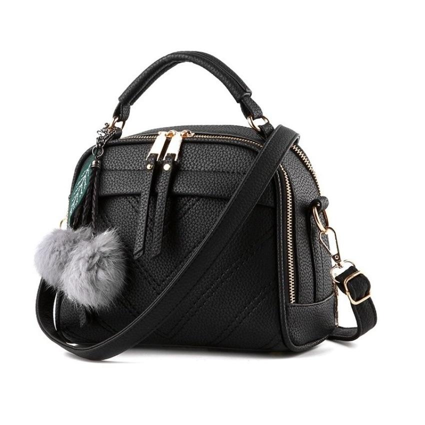 Vicria Tas Branded Wanita With Pompom - High Quality Pu Leather Korean -  Navy - Cr d65eb80d86