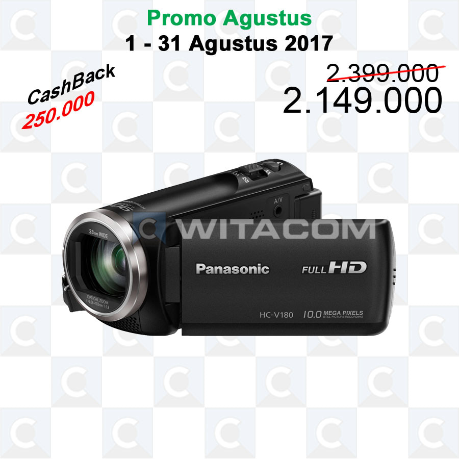 jual panasonic hc v180 full hd camcorder witacom tokopedia. Black Bedroom Furniture Sets. Home Design Ideas
