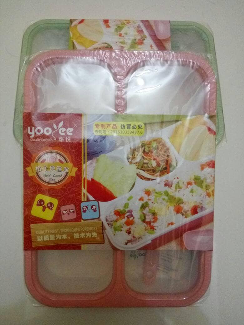 Jual Yooyee Grid Lunch Box 4 Sekat Anti Bocor Dan Tumpah Bpa Free