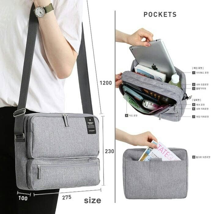 95b74c6fba5e Jual Tas Selempang Keren Banyak Sekat / Travel Organizer Bag ...