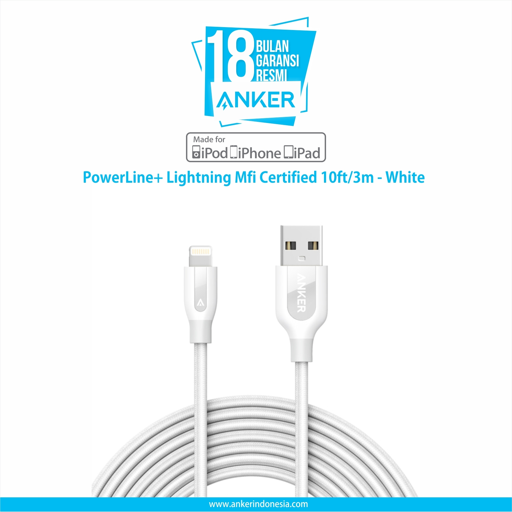 Anker Powerling Pluslightning Mfi Certified 10ft 3m   White  A8123h21 - Blanja.com