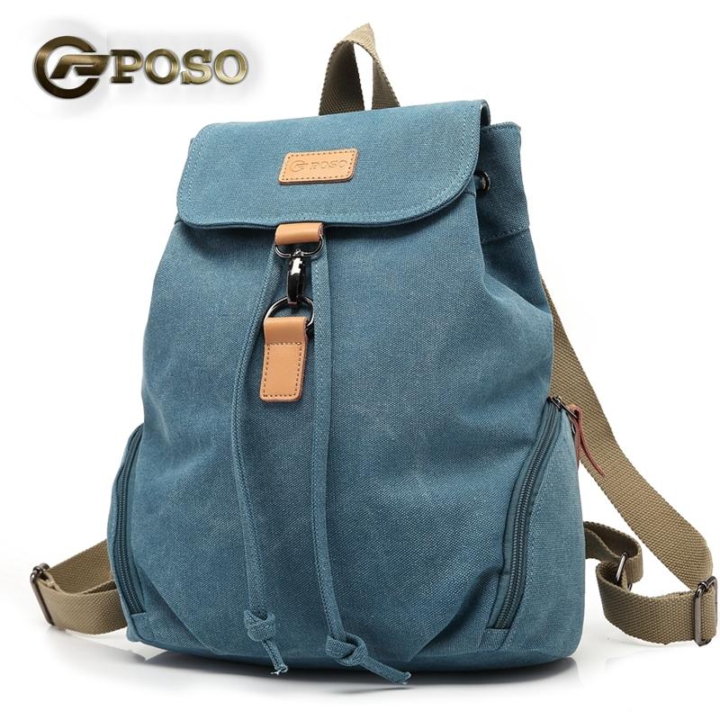 Original Poso Ps - 201 Blue - Vintage Retro Female Backpack Canvas Large
