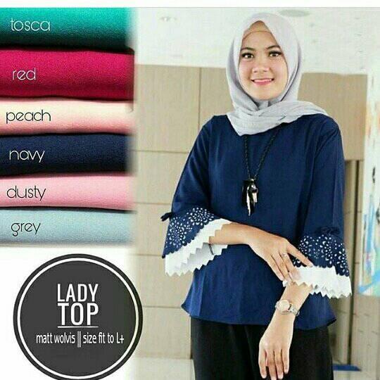 Katalog Baju Muslim Wanita Blouse Kaos Lengan Panjang Lady Top ... 8b22aaced5
