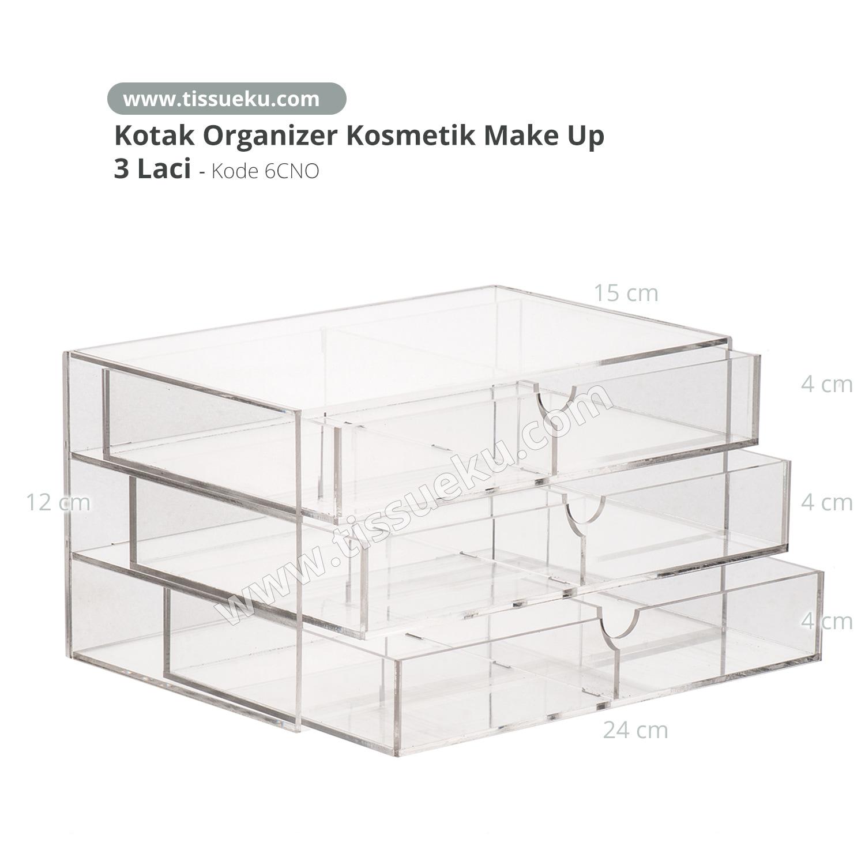 Kotak Kosmetik Make up organizer Kotak akrilik 3 Laci 6CNO thumbnail