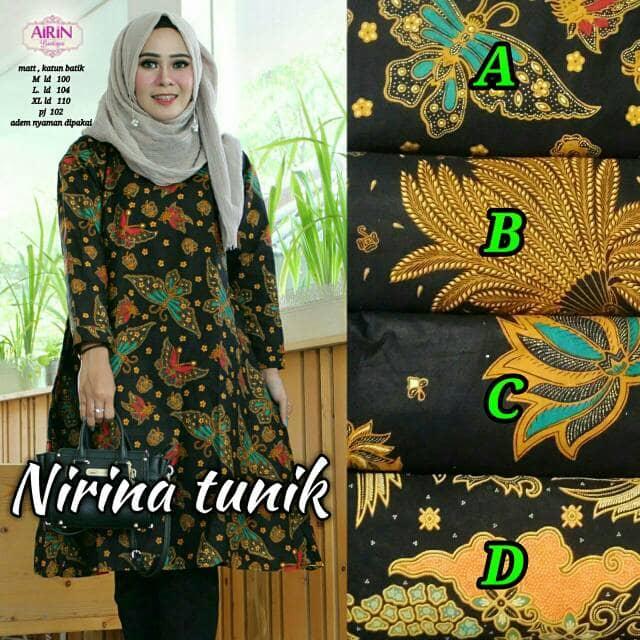 Baju Atasan Wanita Muslim Blouse Batik Nirina Tunik