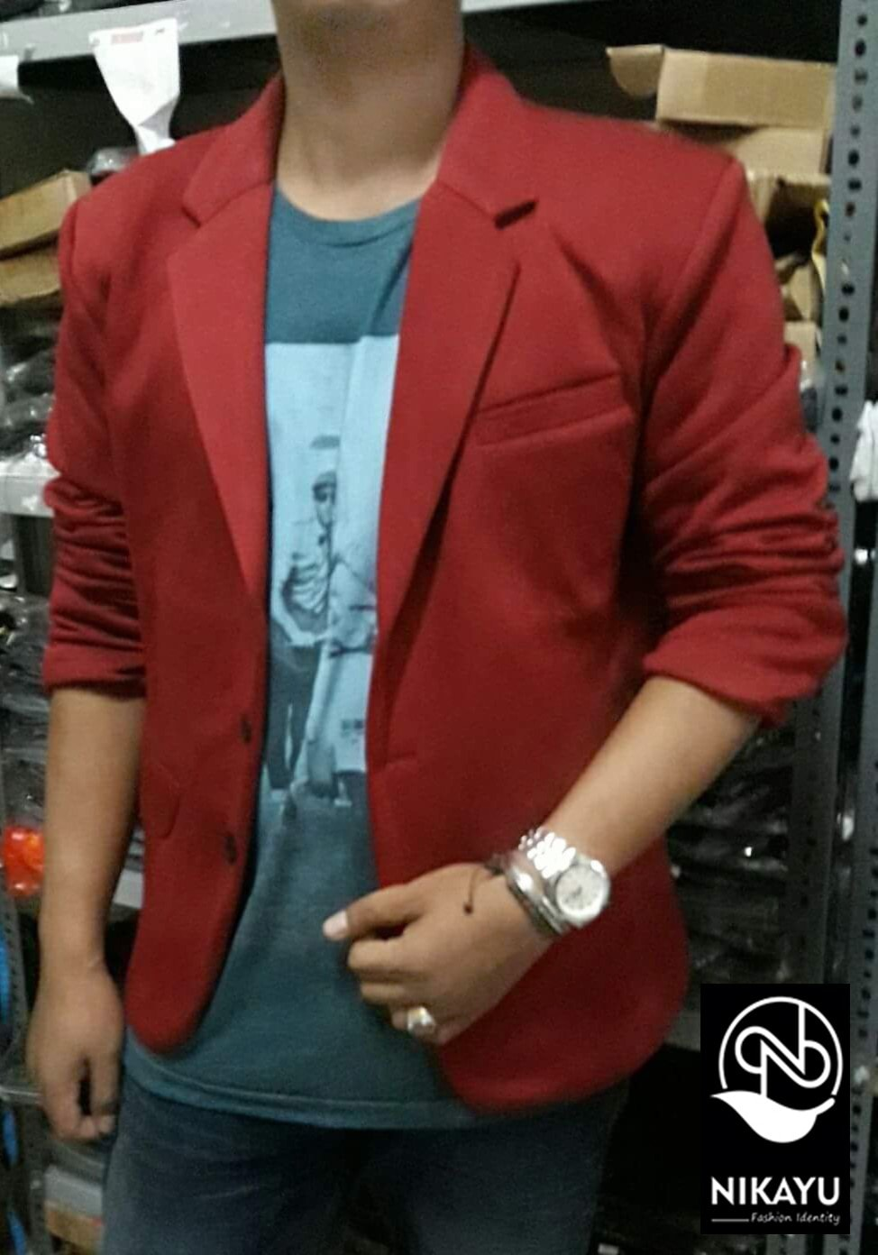 harga Blazer Pria Fleece Maroon - Jas Pria Casual Slimfit Korea Style Shop Blanja.com