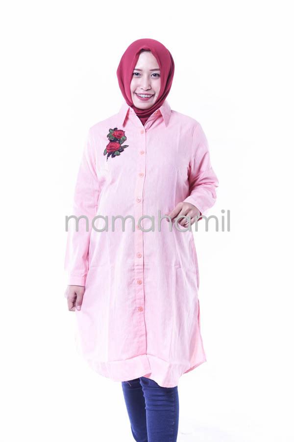Baju Hamil Kerja Dress Tunik Muslim Panjang Syari - BLJ 399 + Hijab