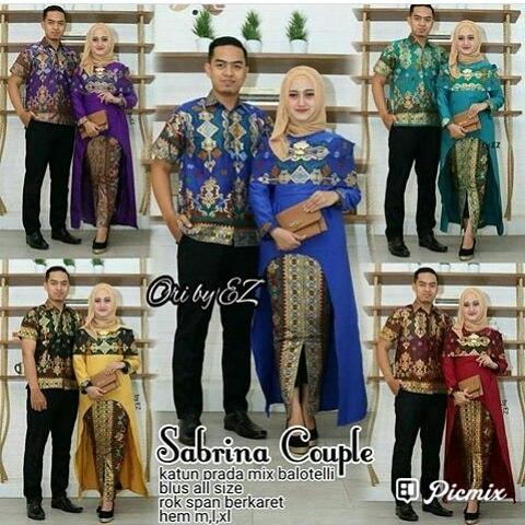 Baju Batik Couple Rok Panjang Model Kebaya Hem Kemeja Cowok