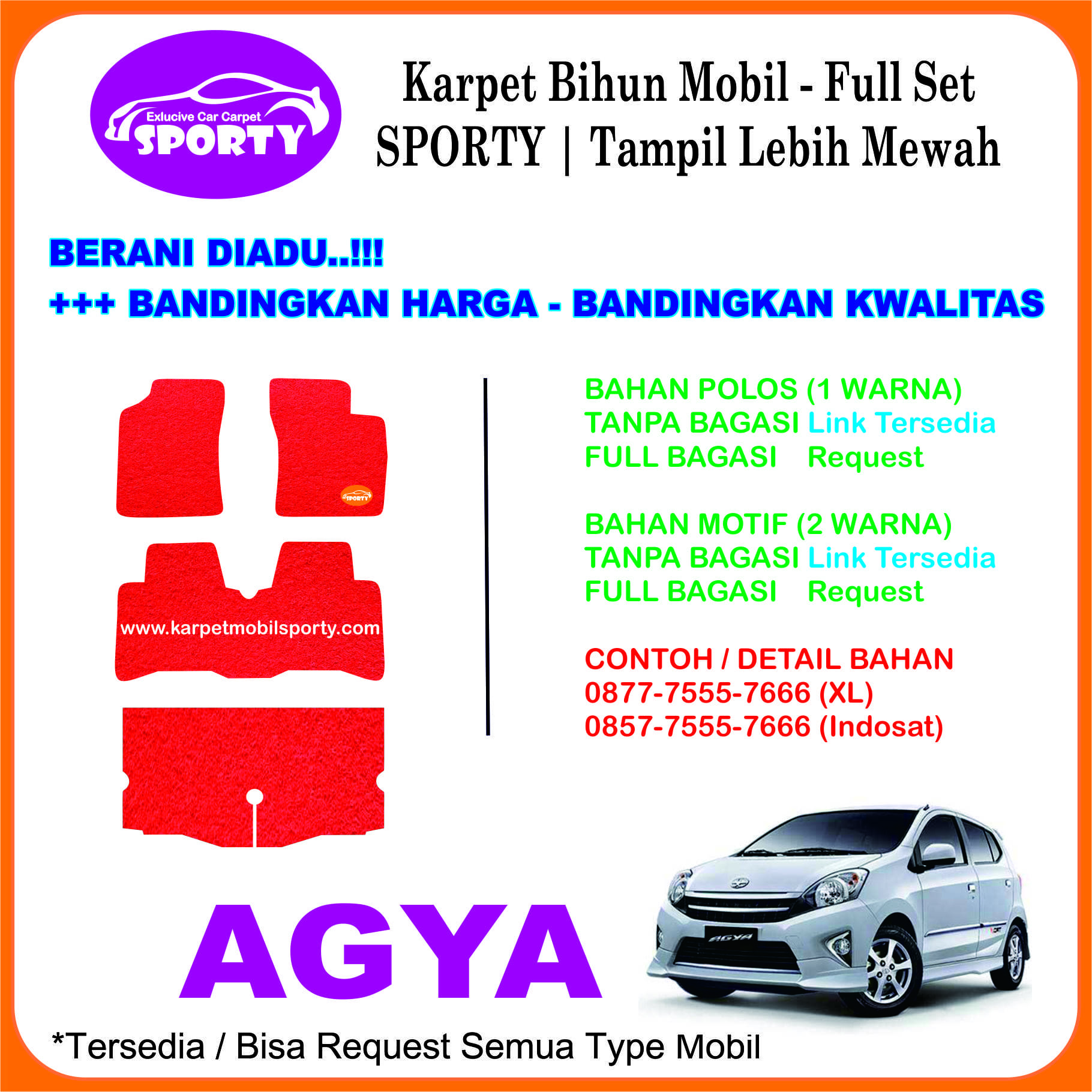 Karpet Mobil Mie Bihun AGYA Non Bagasi