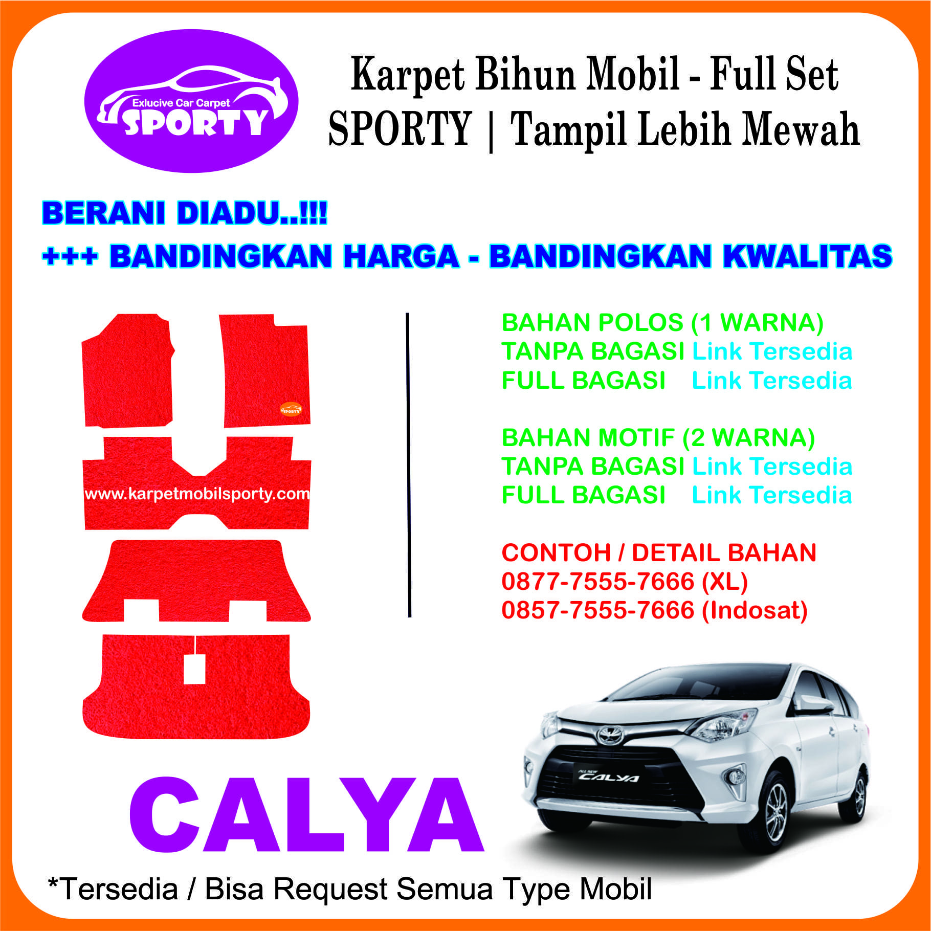 Karpet Mobil Mie Bihun CALYA Non Bagasi