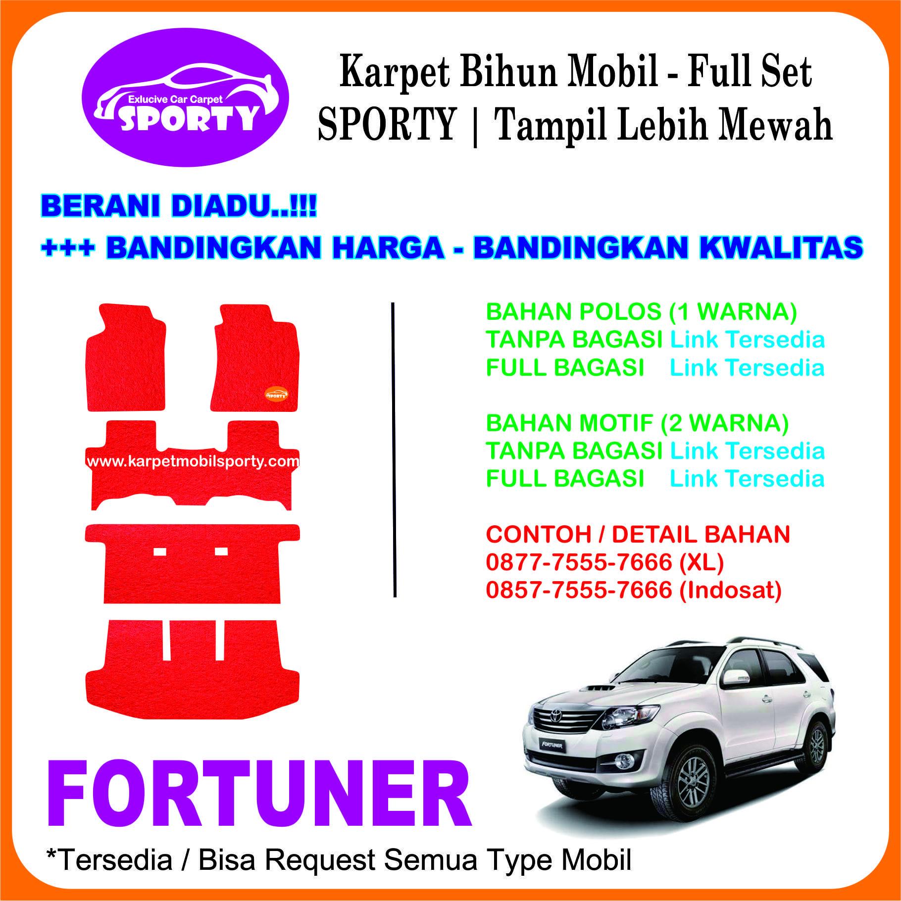 Karpet Mobil Mie Bihun FORTUNER Non Bagasi