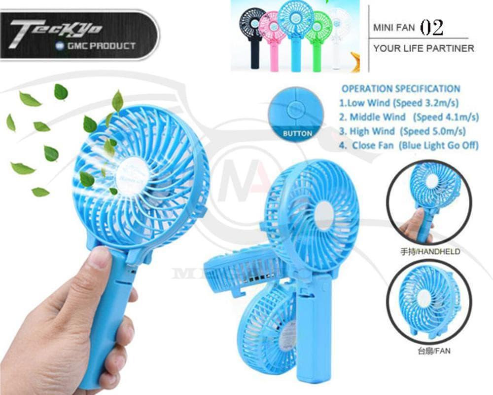 Kipas Angin Lipat + Senter + Batere 2000Mah Portable Genggam Mini Fan