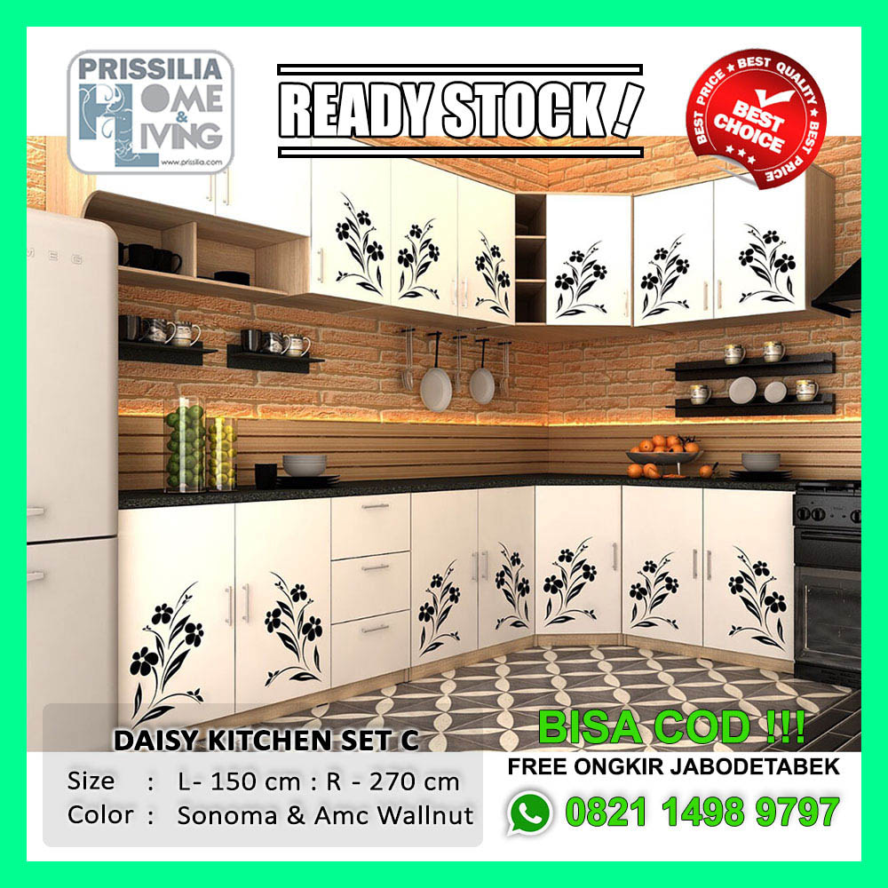 Jual ready stock lemari dapur minimalis daisy kitchen set c version cokelat muda balboa shop tokopedia