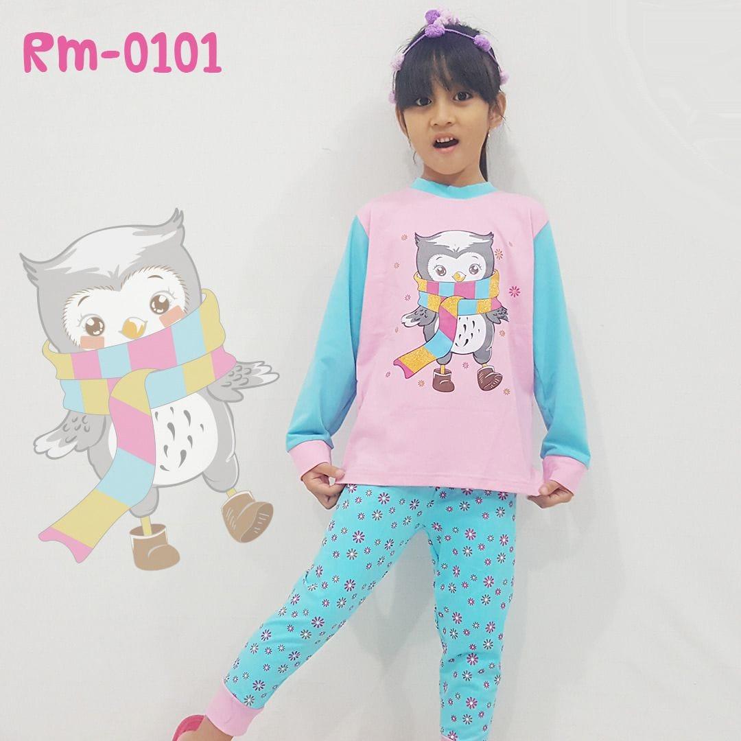 Setelan Baju Tidur Anak Bayi Perempuan Owl