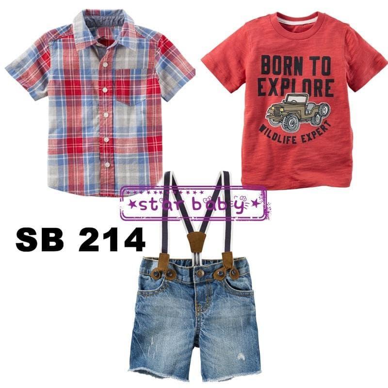 Setelan Celana Pendek Jeans T-Shirt Dan Kemeja Baju Formal Balita Anak