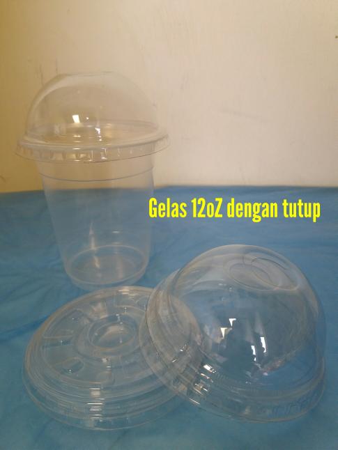 Gelas Plastik 12oz/plastik Cup pp 12oz+tutup cembung(Dome Lid)