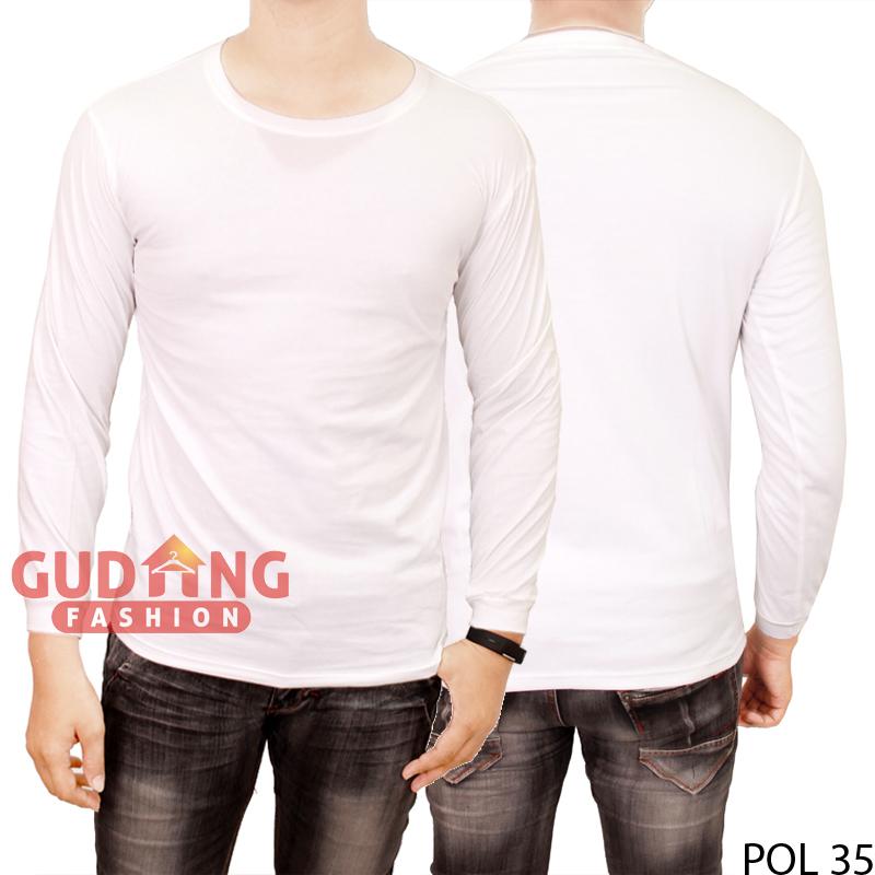 Jual Kaos Polos Panjang O-Neck POL 35 - Putih, S - gudang-