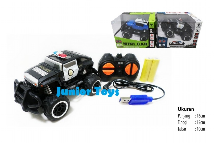 Mainan Rc Mobil Jeep Police / Mini Car Rechargeable
