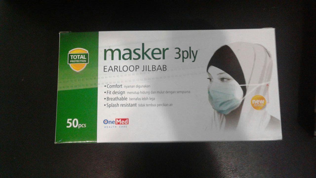 Jual Masker Earloop Jilbab Onemed Rickt Tokopedia Hijab