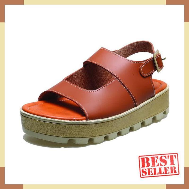 PENAWARAN Sandal Wanita Semi Wedges Coklat BM8 Sendal Pesta Hak Pendek  Perempuan 10f507a5b8