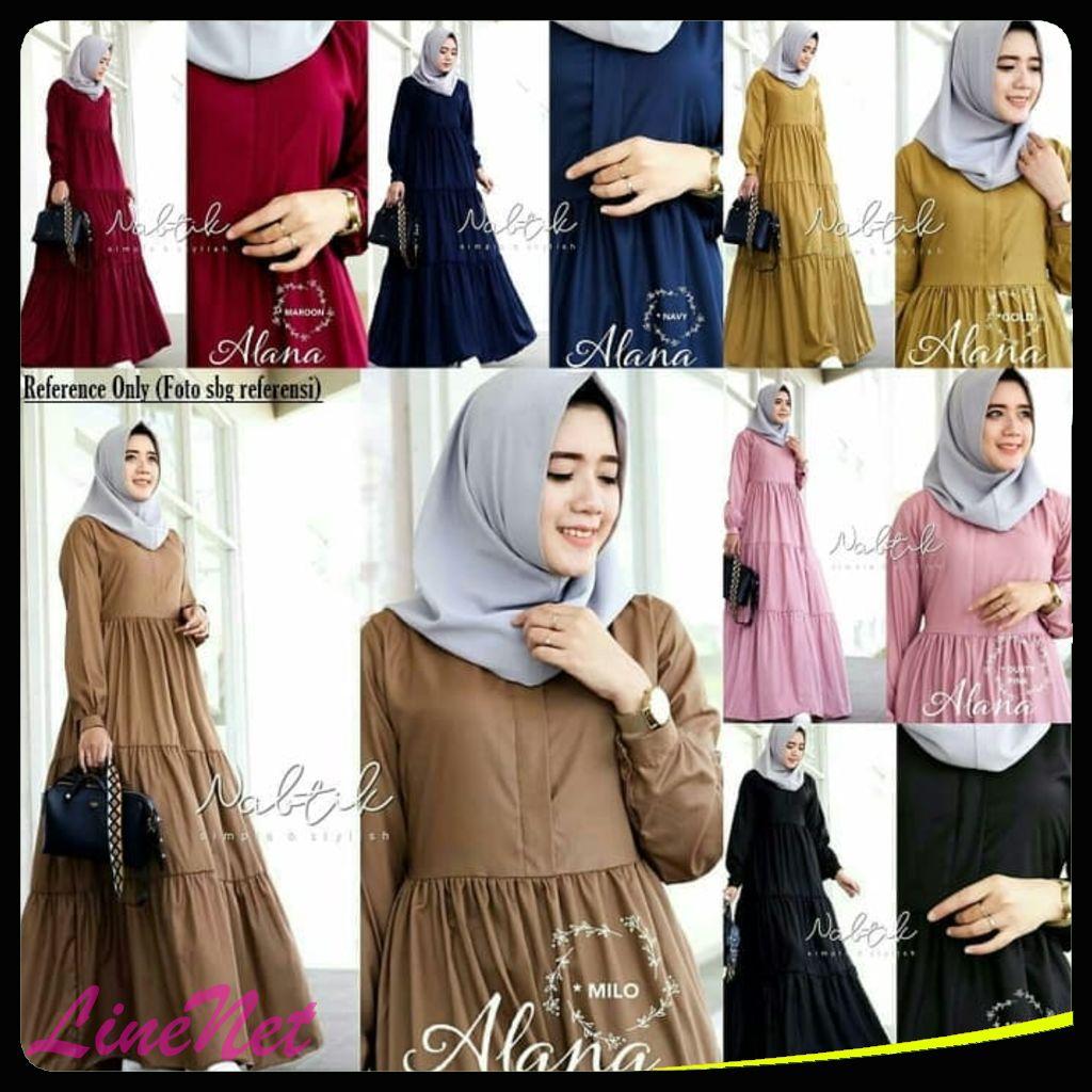 Jual Baju Gamis Wanita  Alana Maxi Dress  Gamis Syari Muslim
