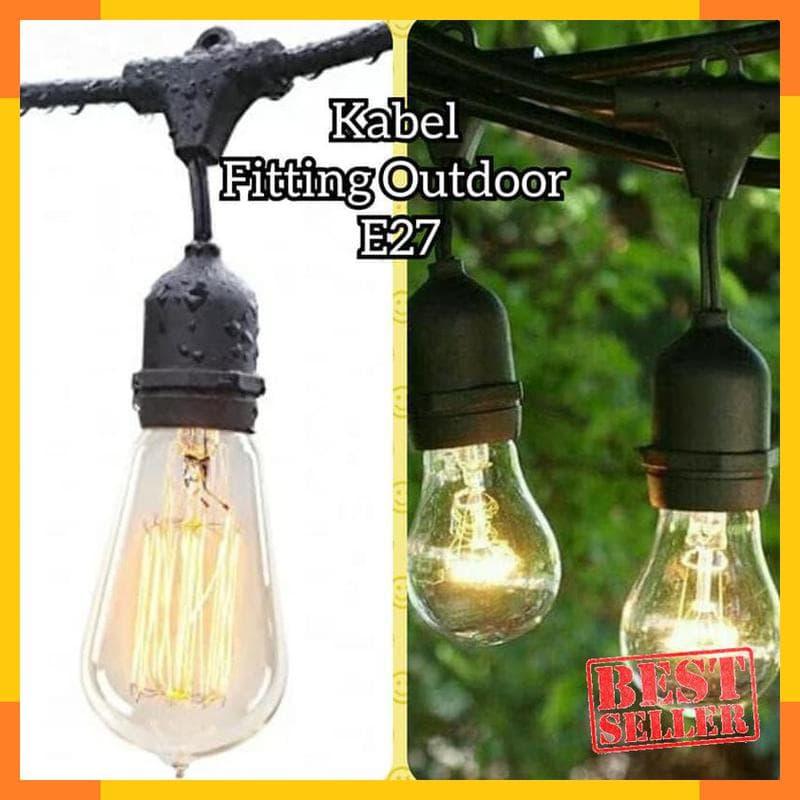 BELI Pasti - Kabel Fitting Gantung Lampu Outdoor Taman Dekorasi Per Meter