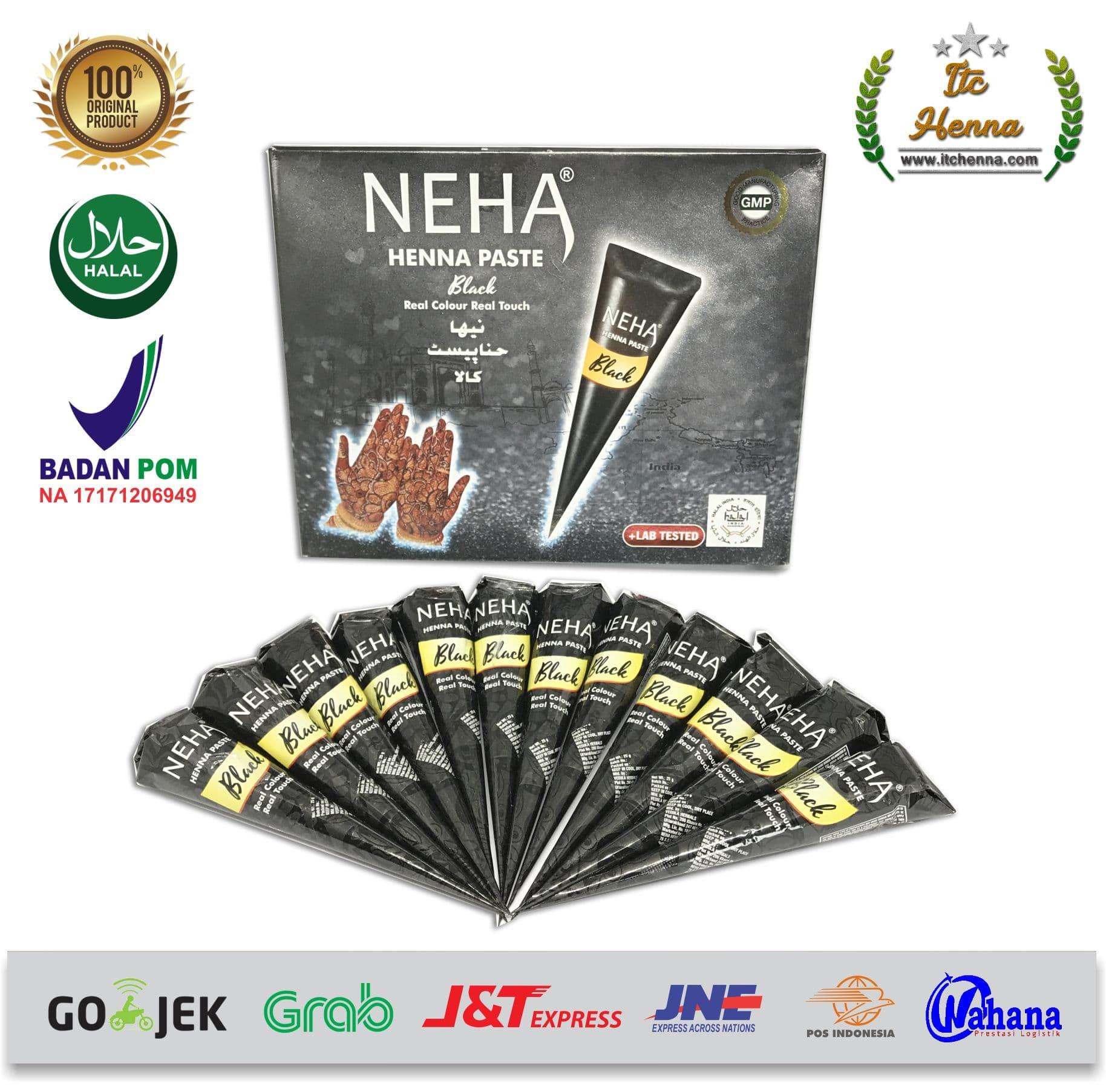 Jual Neha Hitam Henna 1 Box Isi 12 Cone Itc Henna Tokopedia